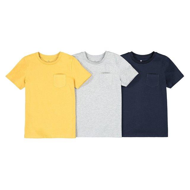 Σετ 3 μονόχρωμα κοντομάνικα T-shirt, 3-12 ετών