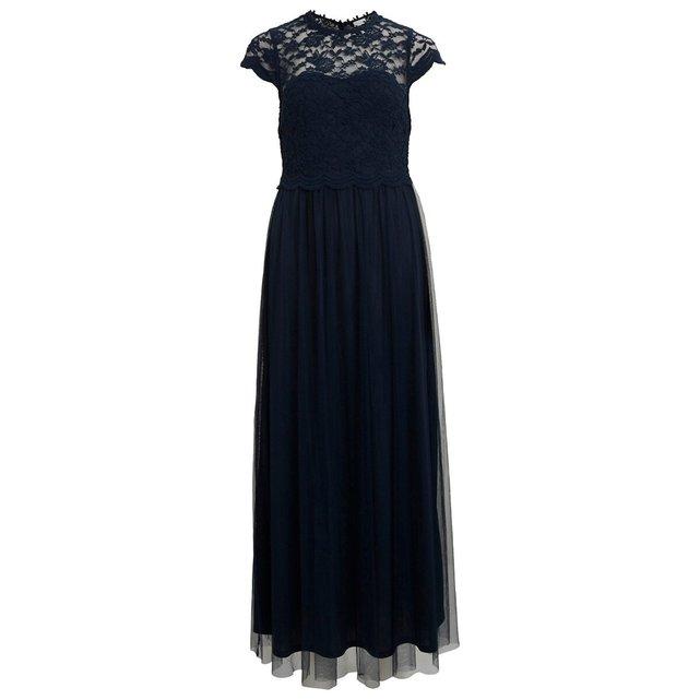 Μακρύ φόρεμα με δαντέλα στο στήθος