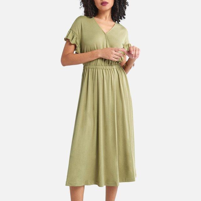 Κοντομάνικο φόρεμα με κρουαζέ λαιμόκοψη
