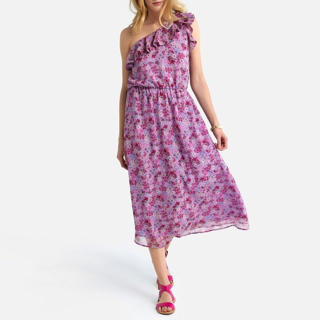 Φόρεμα με ασύμμετρο ντεκολτέ και βολάν