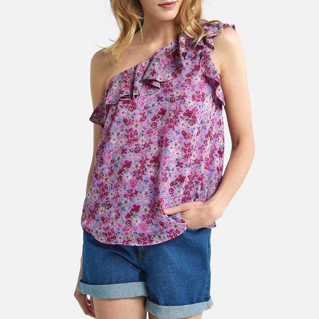 Ασύμμετρη μπλούζα με βολάν και φλοράλ μοτίβο
