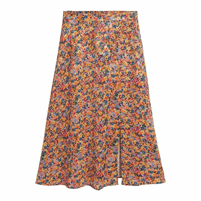 Ίσια μακριά φούστα με φλοράλ μοτίβο