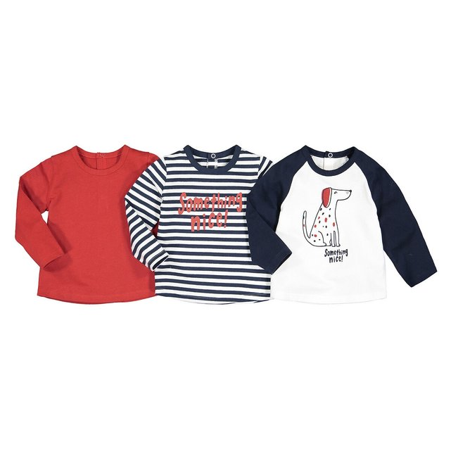 Σετ 3 μακρυμάνικες μπλούζες, 1 μηνός - 4 ετών