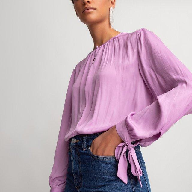Μακρυμάνικη μπλούζα με στρογγυλή λαιμόκοψη και μανίκια που δένουν
