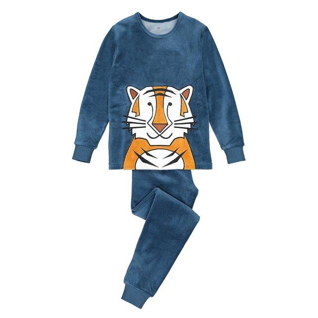 Βελουτέ πιτζάμα με μοτίβο τίγρη, 3-12 ετών
