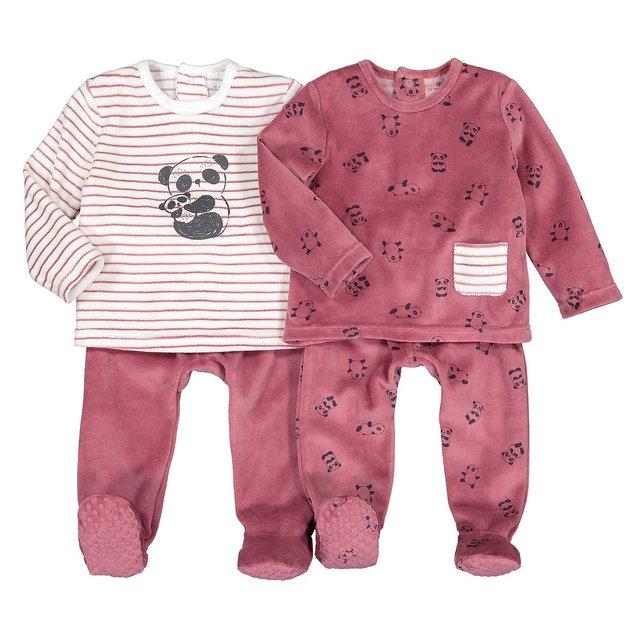 Σετ 2 βελουτέ πιτζάμες, 6 μηνών - 4 ετών