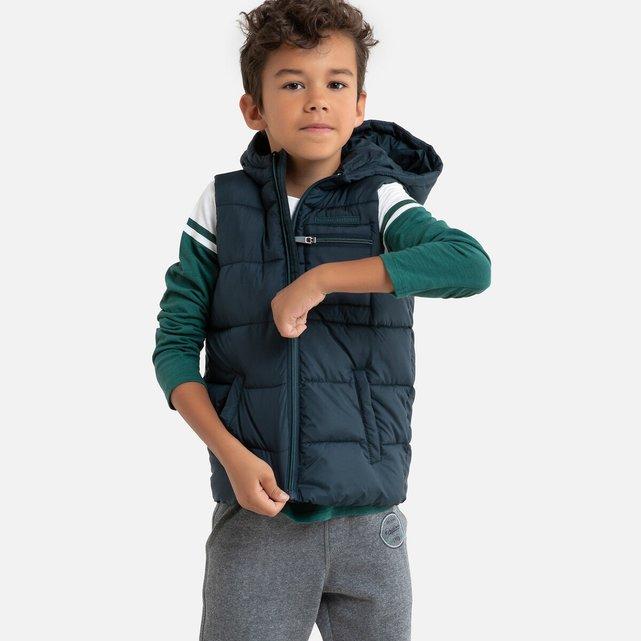 Αμάνικο καπιτονέ μπουφάν με κουκούλα, 3-12 ετών