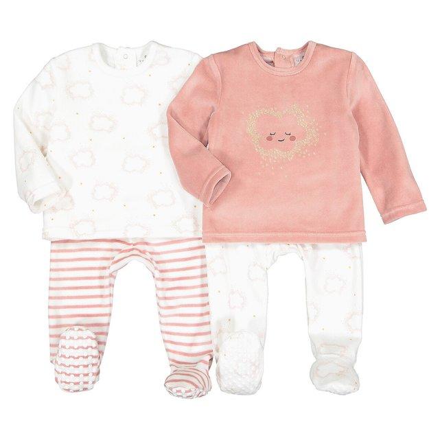 Σετ 2 βελουτέ πιτζάμες, 6 μηνός - 4 ετών
