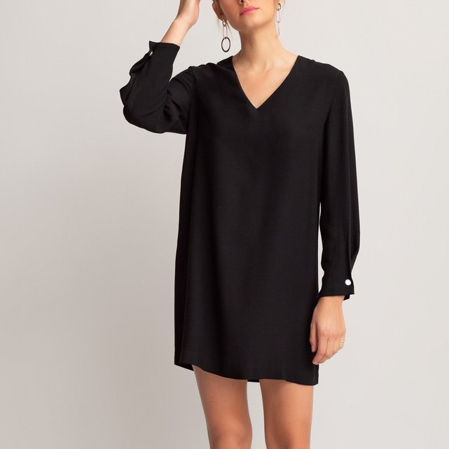 Κοντό μακρυμάνικο φόρεμα με V