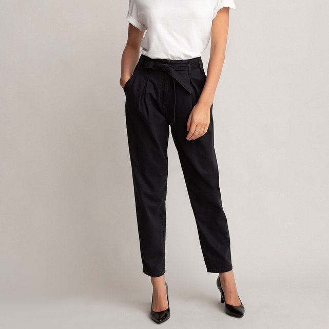 Slim ψηλόμεσο παντελόνι με ζώνη που δένει