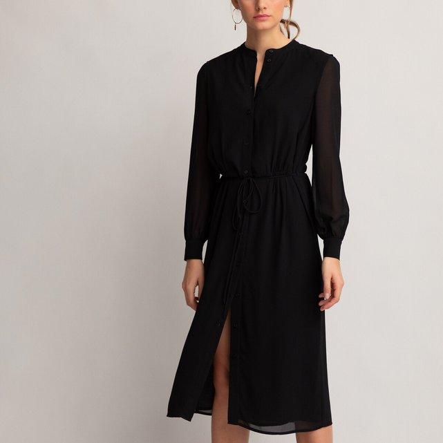 Μακρυμάνικο σεμιζιέ φόρεμα με στρογγυλή λαιμόκοψη