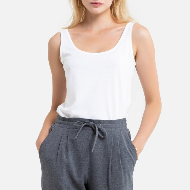 Αμάνικη μπλούζα από βαμβάκι και μοντάλ