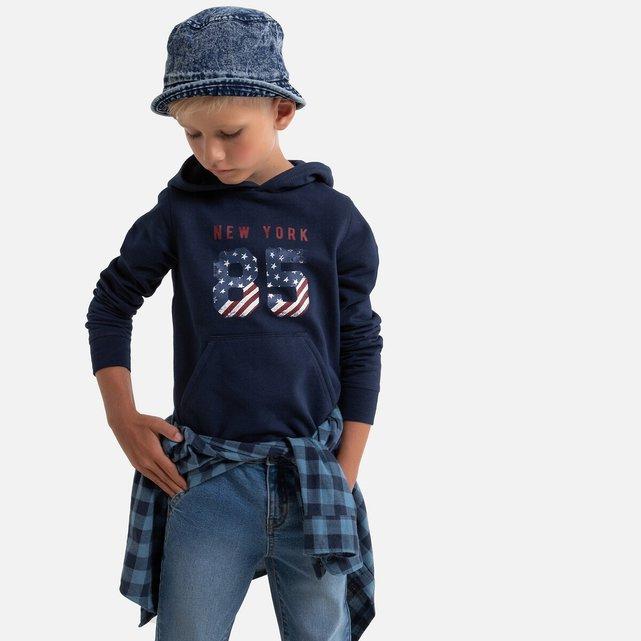 Φούτερ από φανέλα με κουκούλα, 3-12 ετών