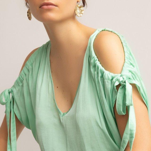 Κοντομάνικη μπλούζα με V και σούρες στα μανίκια