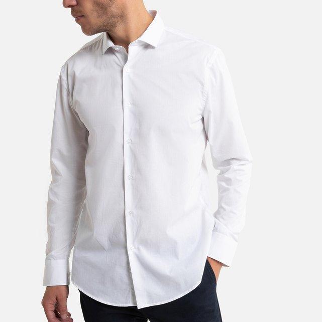 Μακρυμάνικο slim πουκάμισο με λοξό γιακά