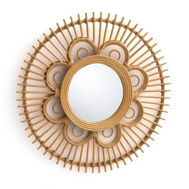 Στρογγυλός καθρέφτης από ρατάν σε σχήμα λουλουδιού Δ65 εκ., Nogu