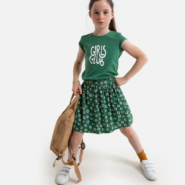 T-shirt με στρογγυλή λαιμόκοψη και στάμπα μπροστά, 3-12 ετών