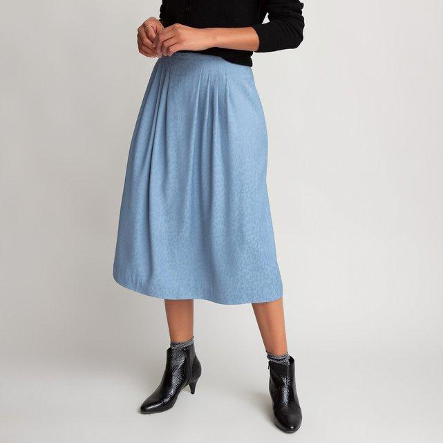 Μίντι φούστα με πιέτες, από ζακάρ ύφασμα με μοτίβο animal print