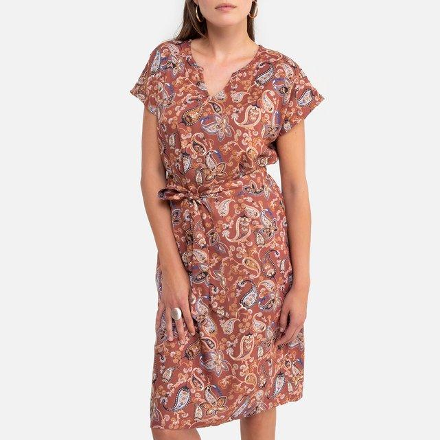 Ίσιο εμπριμέ φόρεμα με μοτίβο λαχούρια