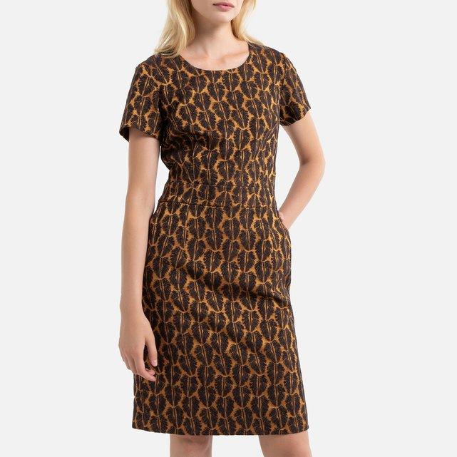 Ίσιο ζακάρ φόρεμα με κοντά μανίκια