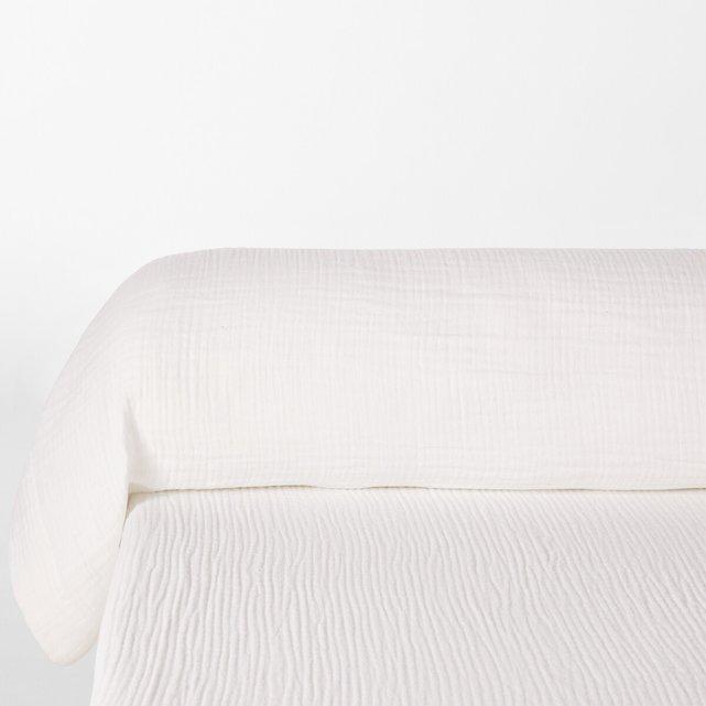 Μονόχρωμη θήκη για μαξιλάρι-καραμέλα από βαμβακερή γάζα, Snow