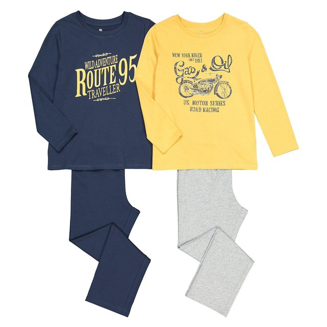 Σετ 2 πιτζάμες από βιολογικό βαμβάκι, 3-12 ετών