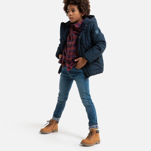 Ζεστό καπιτονέ μπουφάν με κουκούλα και φλις επένδυση, 3-12 ετών