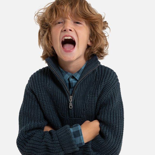 Χοντρό πλεκτό με όρθιο λαιμό και φερμουάρ, 3-12 ετών