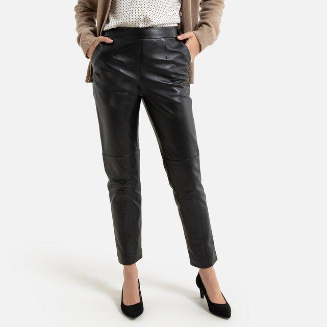 Ίσιο δερμάτινο παντελόνι μέχρι τον αστράγαλο