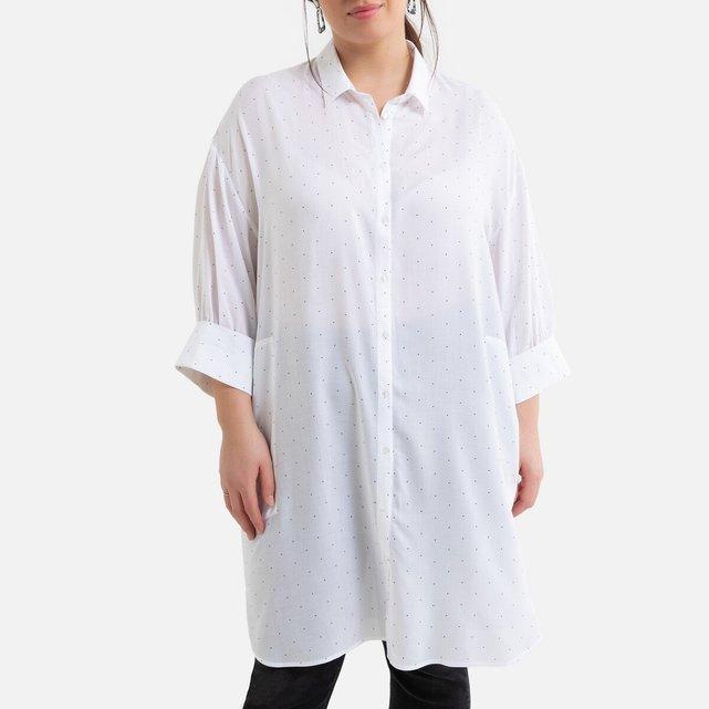 Φαρδύ πουκάμισο με πουά μοτίβο