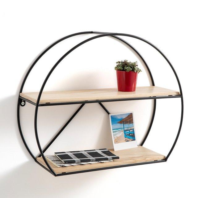 Κυκλική ραφιέρα από μέταλλο και ξύλο, Kiara