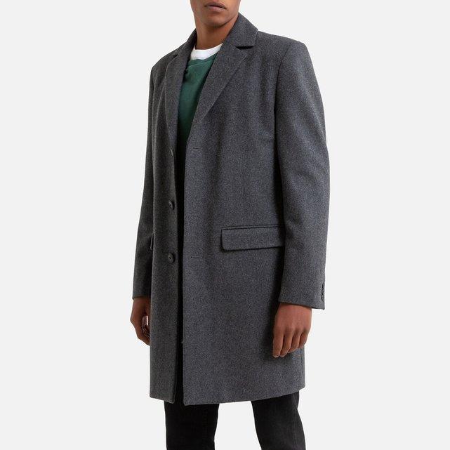 Ίσιο παλτό από μάλλινη τσόχα