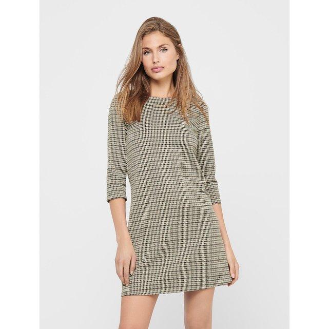 Κοντό καρό φόρεμα με μανίκια 3 4