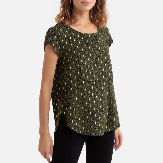 Κοντομάνικη μπλούζα με μοτίβο φύλλα