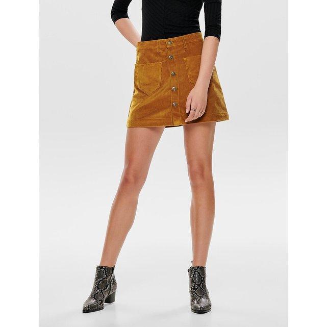 Κοντή ψηλόμεση φούστα από βελούδο κοτλέ