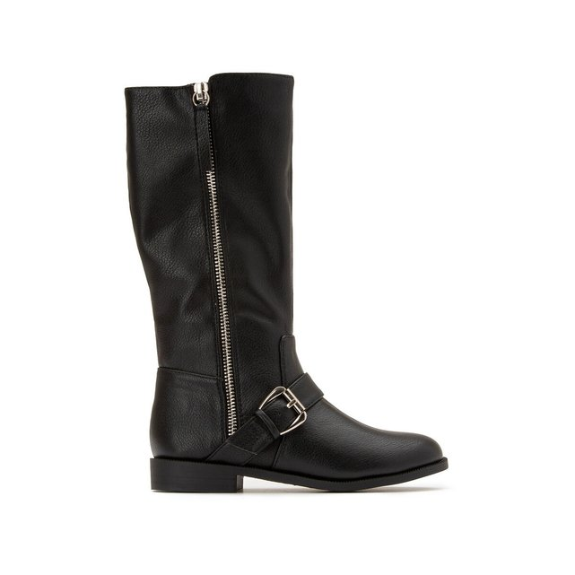 Kids Zipped Knee-High Boots with Buckle