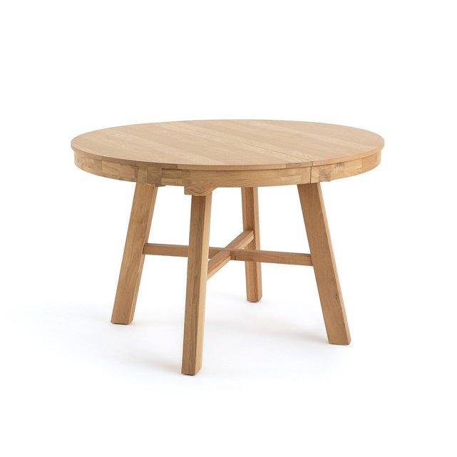 Στρογγυλό επεκτάσιμο τραπέζι από μασίφ ξύλο δρυ, Zebarn