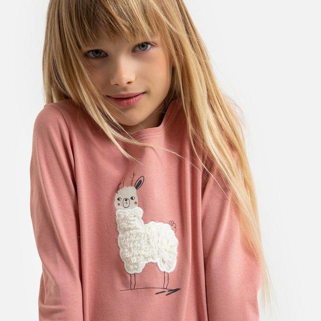 Μακρυμάνικη μπλούζα με μοτίβο λάμα, 3-12 ετών