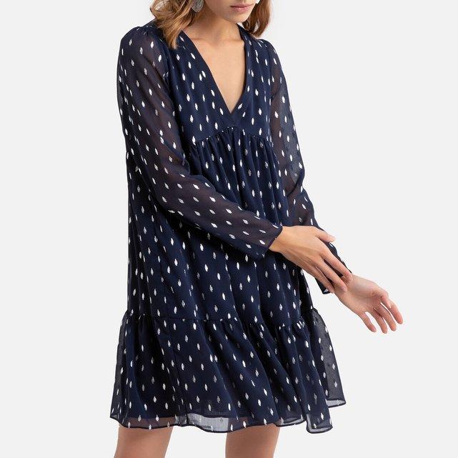 Κοντό εβαζέ φόρεμα με V και μακριά μανίκια