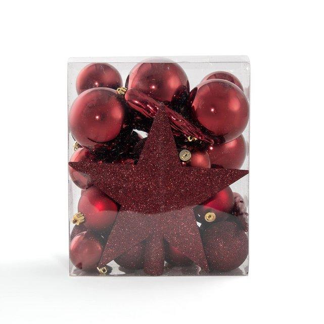 Κουτί με 33 χριστουγεννιάτικα μπορντό στολίδια, Caspar