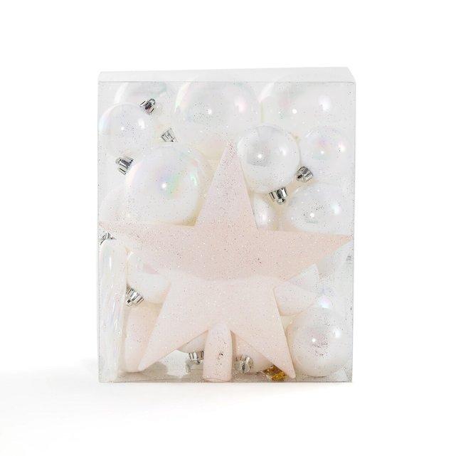 Κουτί με 33 χριστουγεννιάτικα λευκά μεταλλιζέ στολίδια, Caspar