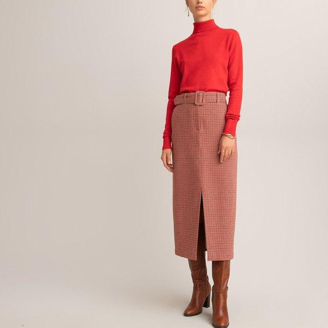 Μακριά ίσια φούστα με μοτίβο πιε-ντε-πουλ