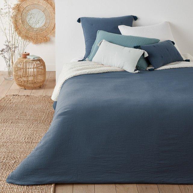 Μονόχρωμο ριχτάρι κρεβατιού από δύο υλικά, Kumla