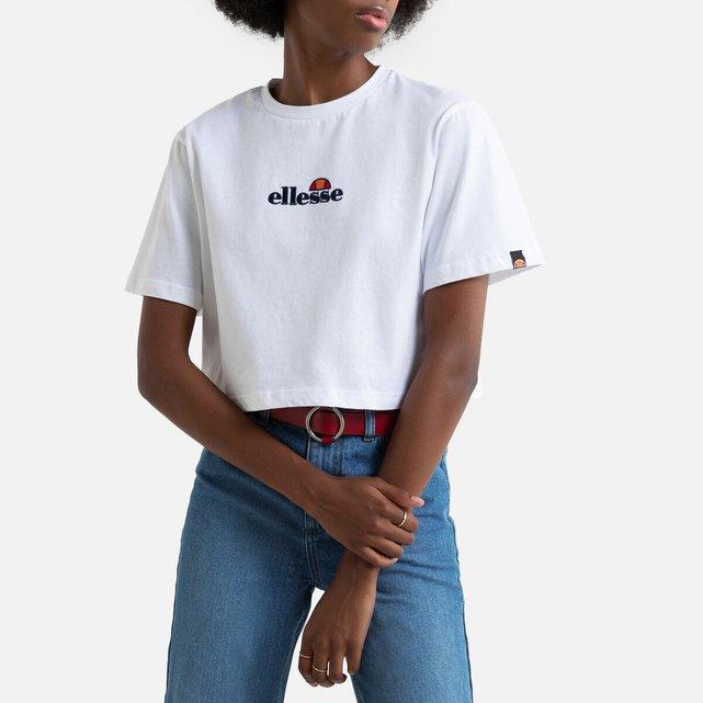 Κοντή εμπριμέ μπλούζα με στρογγυλή λαιμόκοψη