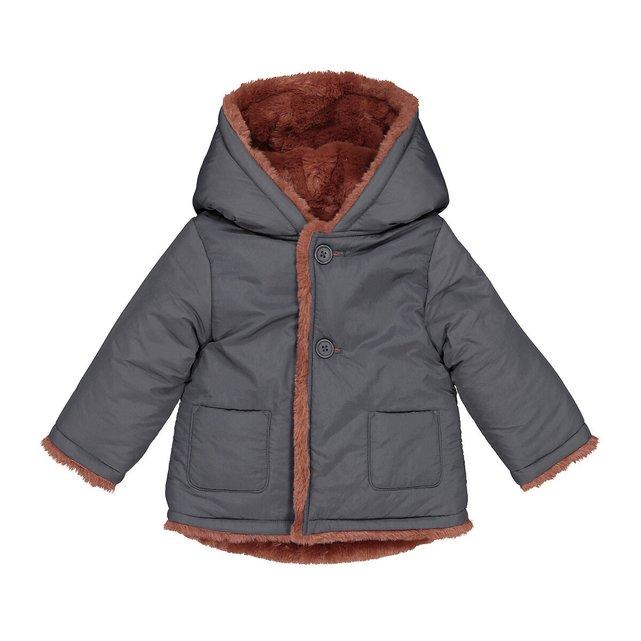 Ζεστό παλτό διπλής όψης με κουκούλα, 1 μηνός - 3 ετών