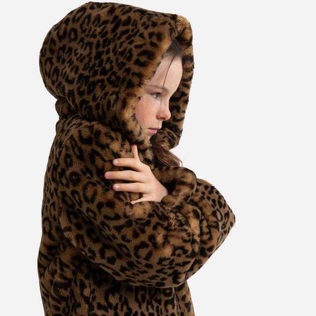Λεοπάρ γούνινο παλτό με κουκούλα, 3-14 ετών