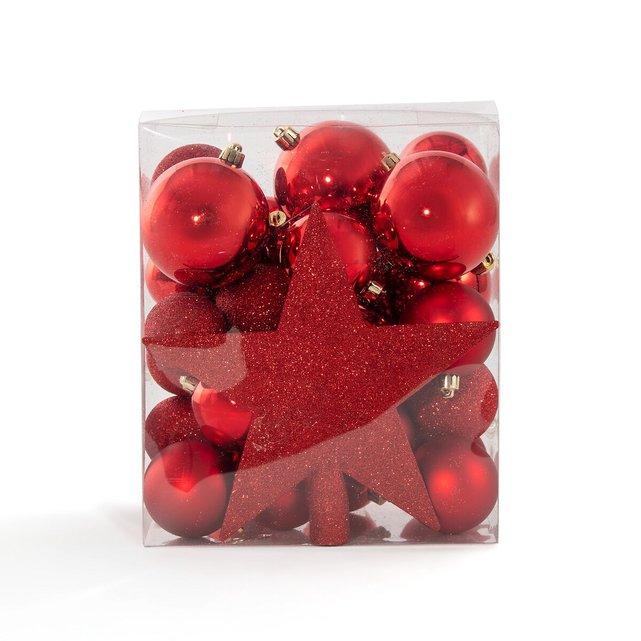 Σετ με 33 κόκκινα χριστουγεννιάτικα στολίδια, Caspar