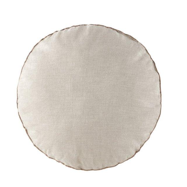 Στρογγυλό μαξιλαράκι από προπλυμένο λινό, Onega