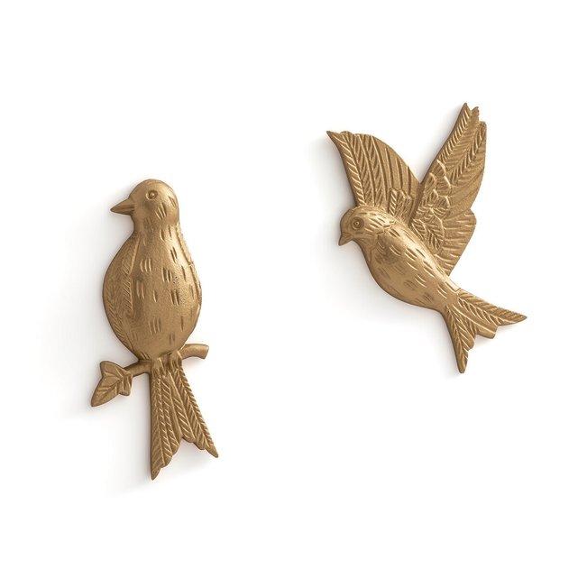 Σετ 2 πουλιά τοίχου από μπρούντζο, Strakaza
