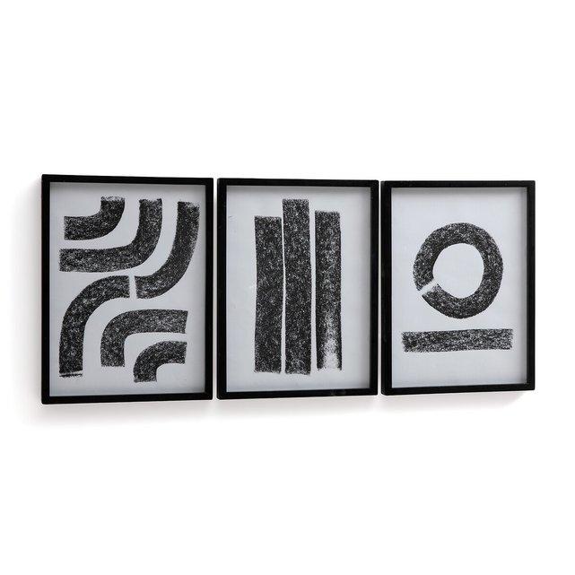 Σετ 3 αφίσες με αφηρημένα σχέδια σε κορνίζα, Minimal